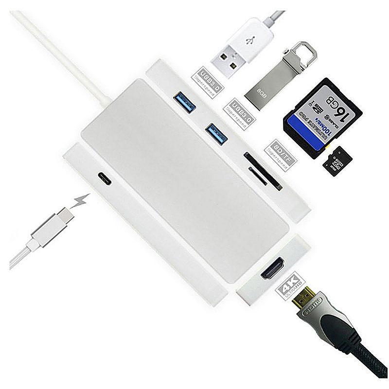 Digital AV Multiport Adapter 4k HDMI Converter USB 3.1 Type C Hub with TF/SD Card Reader for MacBook