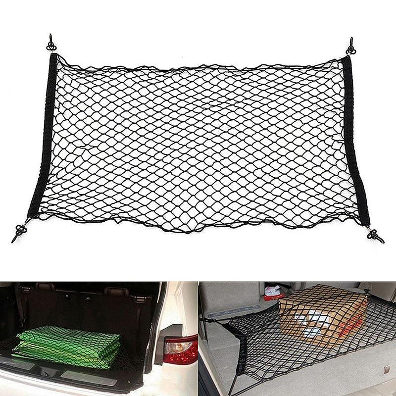 110*50cm Car Cargo Tidy Net Boot Trunk Storage Organizer Luggage for SUV Hatchback - Black