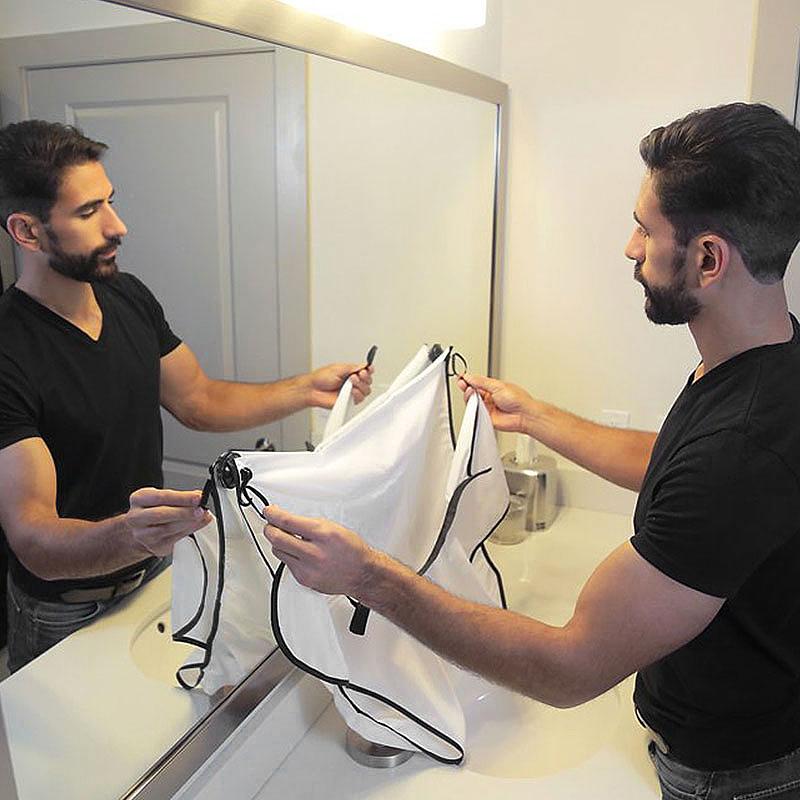 Beard Shave Apron Men' Facial Beard Care Catcher Hair Trimmer Bib - White