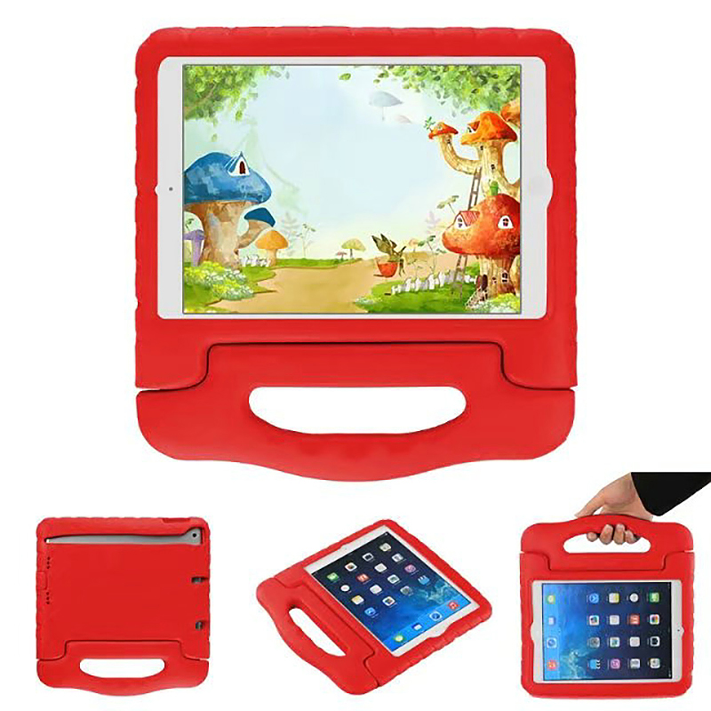 Tough Shockproof iPad Protective Case EVA Foam Handled Case Cover for iPad Air Air 2 - Red