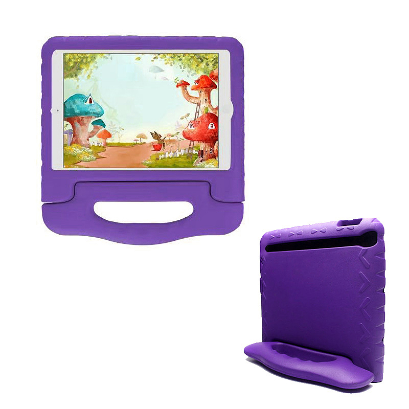 Tough Shockproof iPad Protective Case EVA Foam Handled Case Cover for iPad Air Air 2 - Purple
