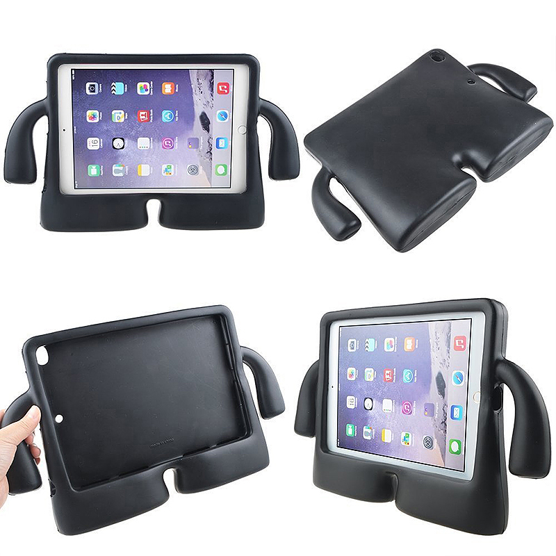 Safe Rubber Shockproof EVA Foam Stand Case Cover for iPad Air/Air 2 - Black