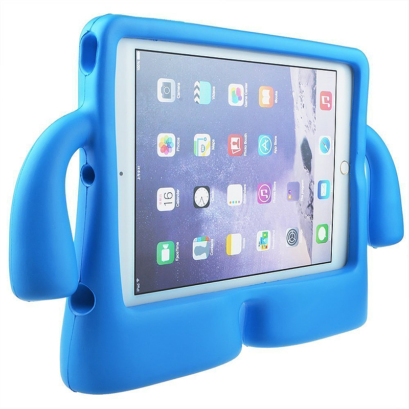 Safe Rubber Shockproof EVA Foam Stand Case Cover for iPad Air/Air 2 - Blue
