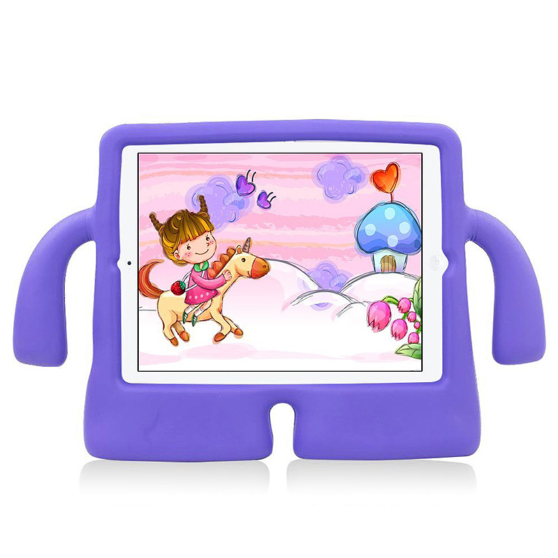 Safe Rubber Shockproof EVA Foam Stand Case Cover for iPad Air/Air 2 - Purple