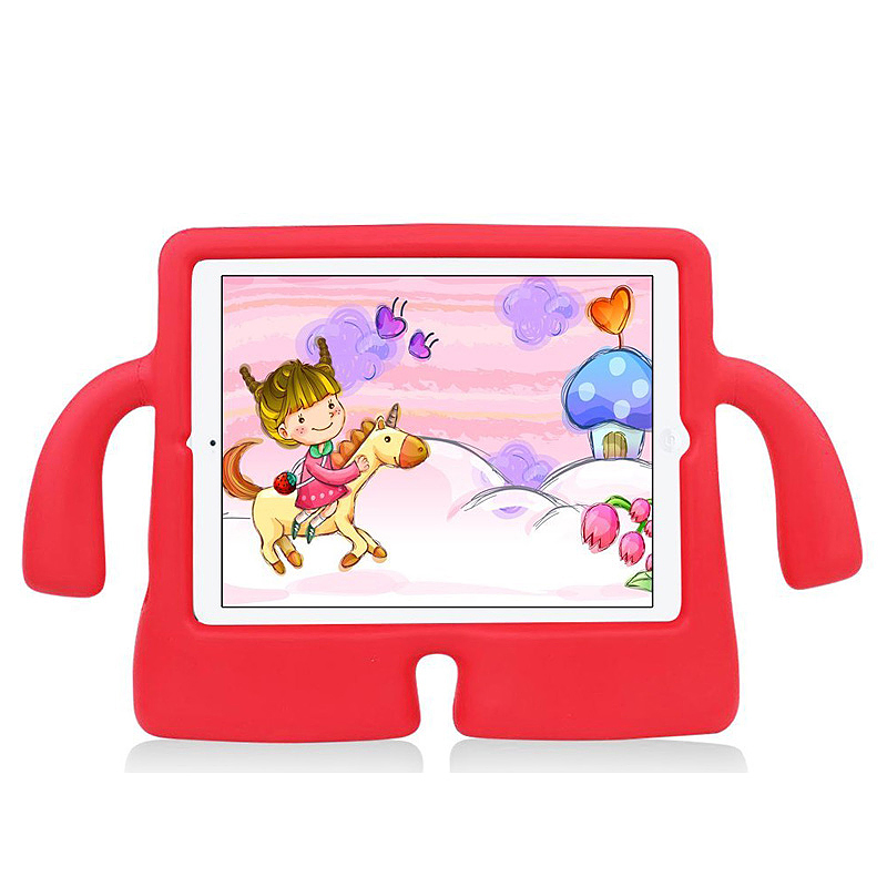 Safe Rubber Shockproof EVA Foam Stand Case Cover for iPad Air/Air 2 - Red