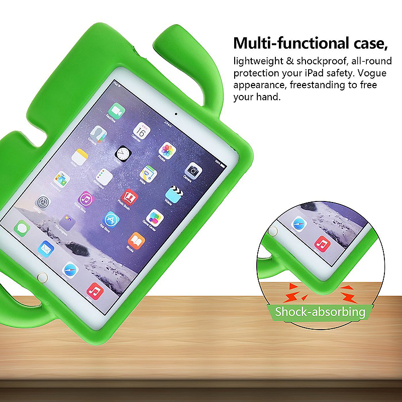 Safe Rubber Shockproof EVA Foam Stand Case Cover for iPad Air/Air 2 - Green