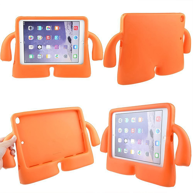 Safe Rubber Shockproof EVA Foam Stand Case Cover for iPad Air/Air 2 - Orange