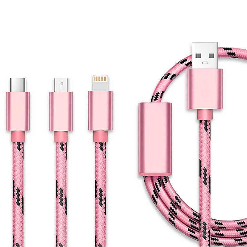 0.3M 3 in 1 8pin Micro USB Type-C Knit Charging Cable for iPhone X 8 Samsung Huawei - Rose Golden