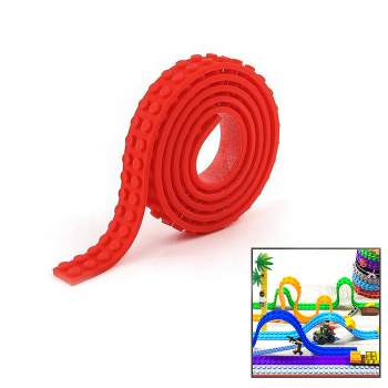 1M Lego Compatible 3M Tape Strip product Block Bendable Flexible Corners Educational products - Red