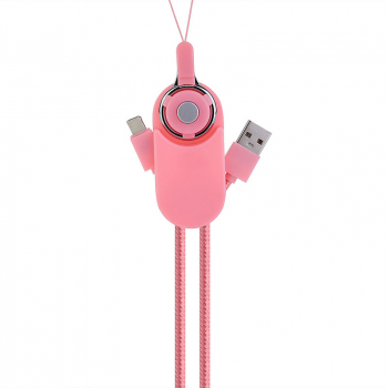 Double-sided USB Cable 2-in-1 Micro USB 8pin Charge Cable for iPhone X 8 Samsung - Pink