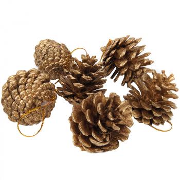 9PCS 4CM Christmas Gold Pine Cones Baubles Xmas Tree Decorations - Gold