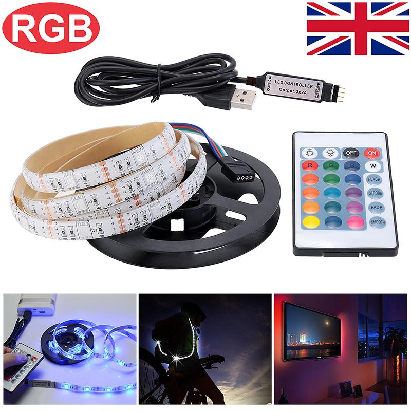 1M USB LED Strip Light TV Back Lamp 5050 RGB Color Changing + Remote Control