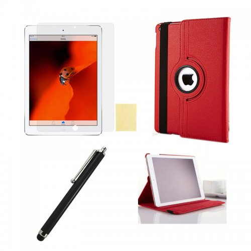 Red 360 Rotation Case + Screen Film + Touch Screen Pen For iPad 5(Air)
