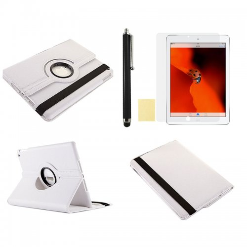 White 360 Rotation Case + Screen Film + Touch Screen Pen For iPad 5(Air)