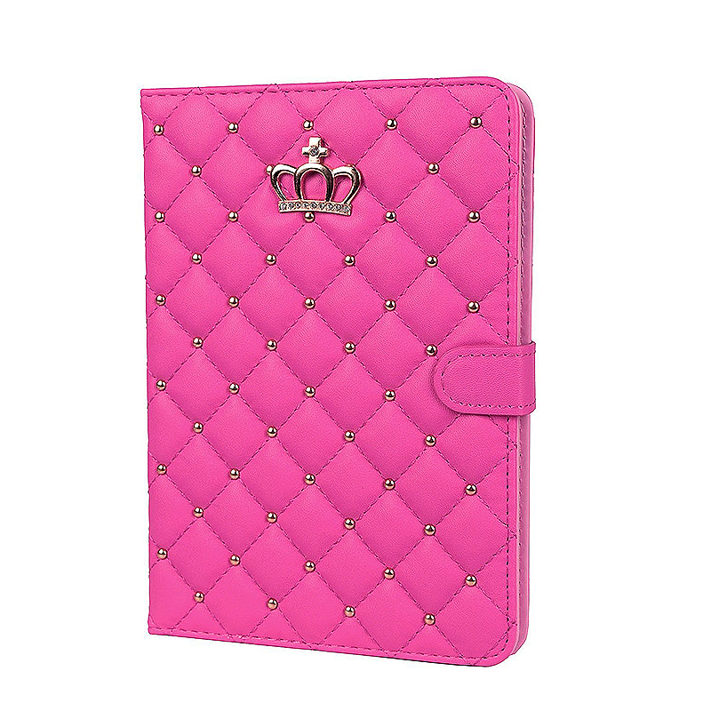 Smart Luxury Crown Bling Glitter Quilted PU Leather Case Cover for Apple iPad Mini 4 - Rose Red