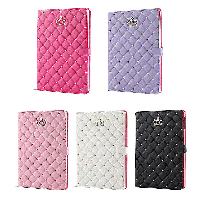 Luxury Crown Bling Glitter Quilted PU Leather Protective Case Cover for iPad Air/Air2 - Pink