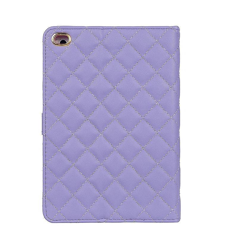 Luxury Crown Bling Glitter Quilted PU Leather Protective Case Cover for iPad Air/Air2 - Purple