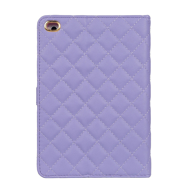 iPad 9.7 2017 Smart PU Leather Case Luxury Crown Bling Quilted Grid Cover Shell - Purple
