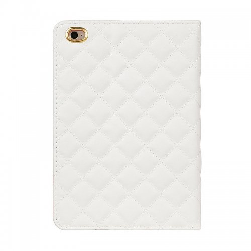 Luxury Bling Crown Quilted Grid Case Smart Stand Up Soft PU Leather Cover for iPad Mini 1/2/3 - White