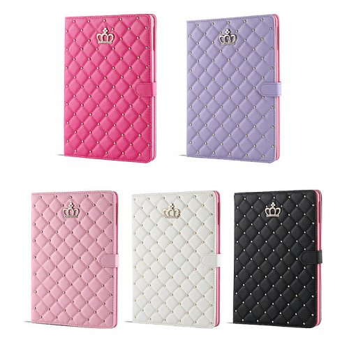 Smart Luxury Crown Bling Glitter Quilted PU Leather Case Cover for Apple iPad Mini 4 - Purple
