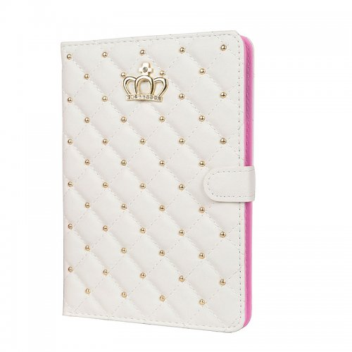 iPad 2/3/4 Crown Bling Diamond Grid PU Leather Case Smart Stand Up Shockproof Cover - White