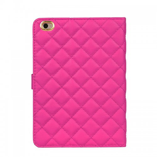 Luxury Bling Crown Quilted Grid Case Smart Stand Up Soft PU Leather Cover for iPad Mini 1/2/3 - Rose Red