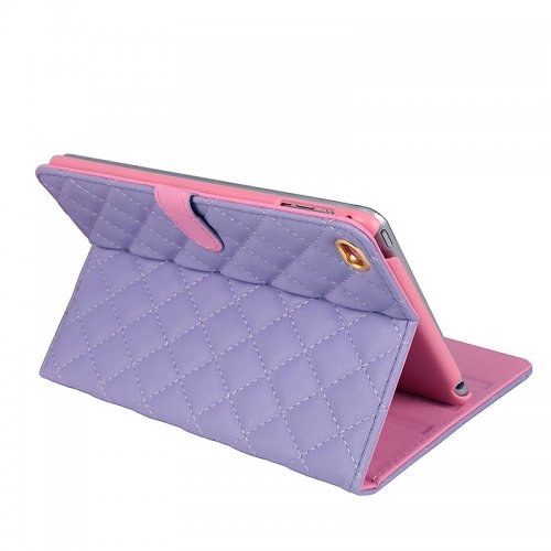 iPad 2/3/4 Crown Bling Diamond Grid PU Leather Case Smart Stand Up Shockproof Cover - Purple