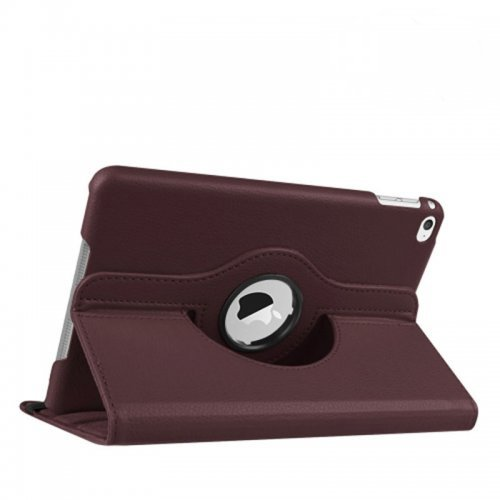 360 degree Rotating PU Leather Flip Stand Case Cover Skin for iPad Mini 4 - Brown
