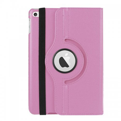 360 degree Rotating PU Leather Flip Stand Case Cover Skin for iPad Mini 1/2/3 - Pink