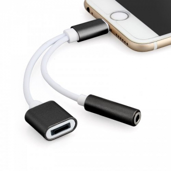 2 in 1 8pin to 3.5mm Headphone Jack Adapter Charge Cable Compatible with IOS 11 for iPhone 7 - Black
