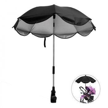 Universal Baby Stroller Parasol UV Ray Shade Sun Protection Umbrella - Black