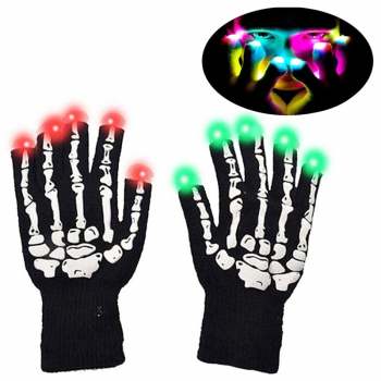 1 Pair LED Colorful Flashing Finger Lighting Skeleton Gloves for Hallowmas Party Shows