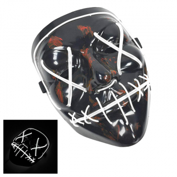 Light Up Purge Mask Led Scary Halloween Cosplay Masks for Adults - White