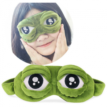 3D Cartoon Sad Frog Eye Cover Sleep Mask Travel Anime Sleeping Rest Eyeshade for and Adults