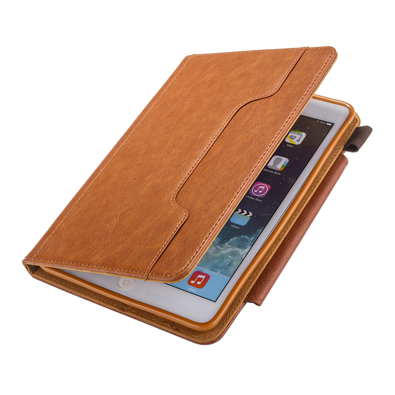Luxury Vintage Full Coverage PU Leather Case Cover with Wallet Stand Function for iPad Mini 2/3/4 - Brown