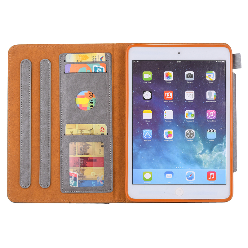 Luxury Vintage Full Coverage PU Leather Case Cover with Wallet Stand Function for iPad Mini 2/3/4 - Grey