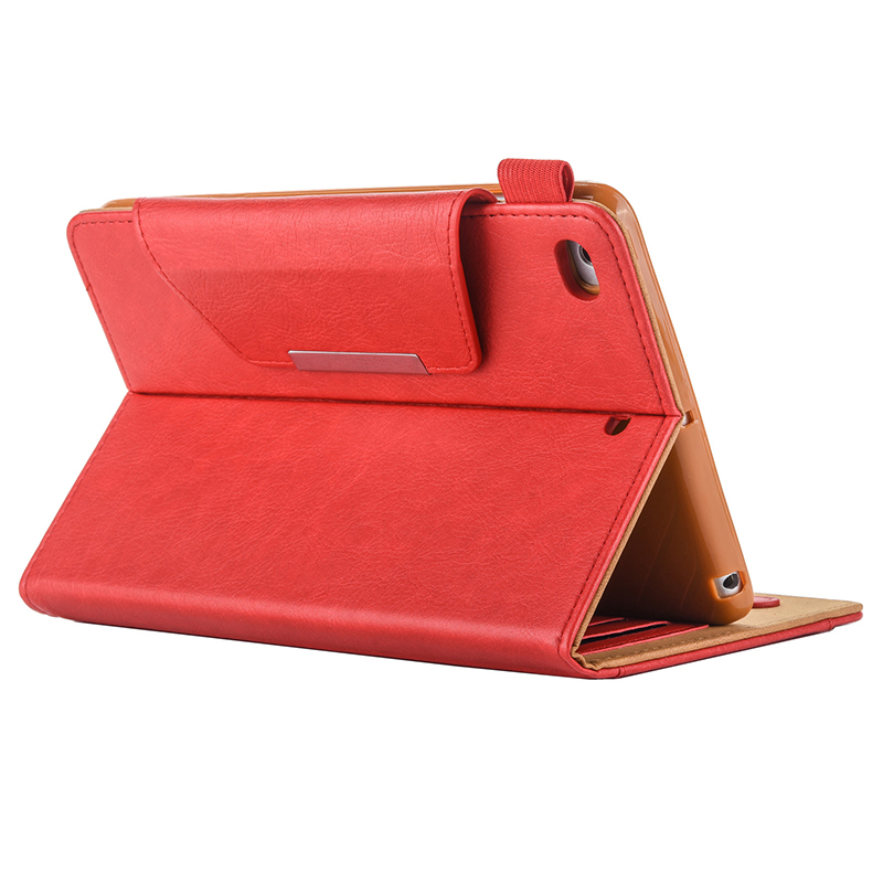 Luxury Vintage Full Coverage PU Leather Case Cover with Wallet Stand Function for iPad Mini 2/3/4 - Red