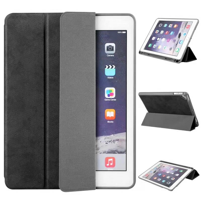 Ultra-Thin Universal Soft PU Leather Stand Cover Case With Pen Slot for iPad 2018 2017 9.7 - Black