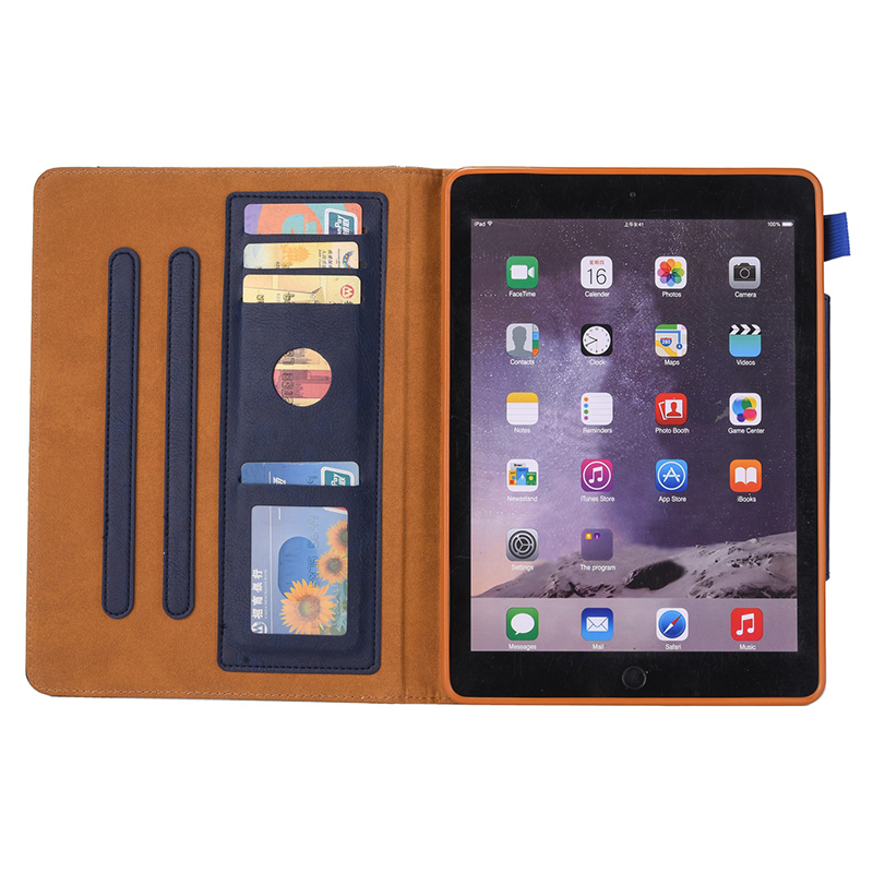 PU Leather Vintage 9.7 inch Case for IPAD5 6 7 8 9 Solid Color Protective Filp Cover Case - Blue