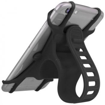 Silicone Bicycle Bracket Motorcycle Stationary Bike Mount Cellphone Holder Handlebar Cradle - Black
