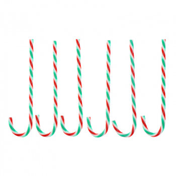 6Pcs/Bag Plastic Candy Cane Ornaments Pendant Christmas Party Tree Wall Hanging Decorations - Red + Green