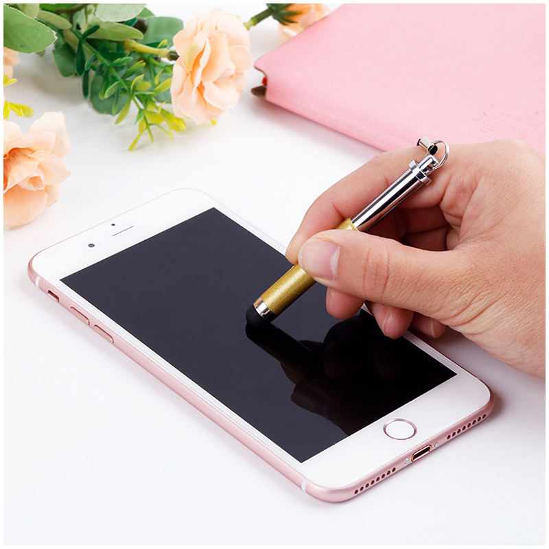Mini Telescopic Metal Touch Screen Stylus Pen Capacitive Pen for Mobile Phone Tablet - Gold