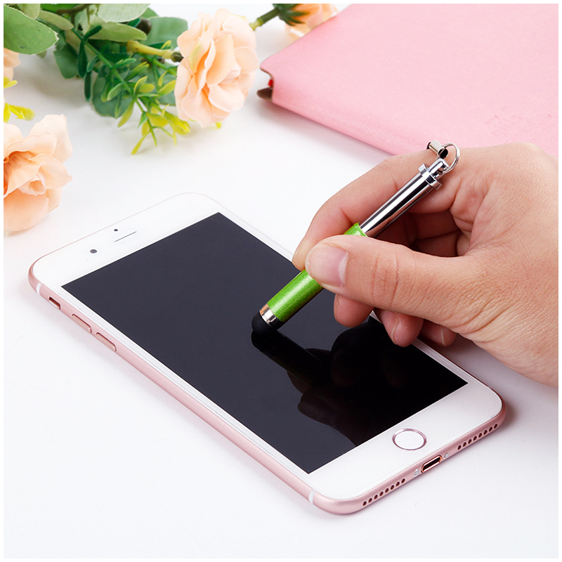 Mini Telescopic Metal Touch Screen Stylus Pen Capacitive Pen for Mobile Phone Tablet - Green