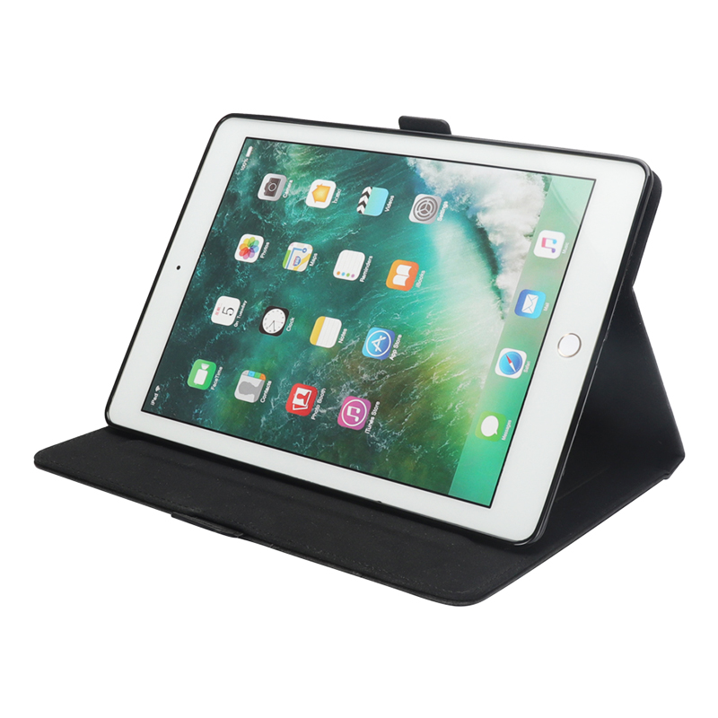 Pure Color Double Holder Leather Tablet Flip Stand Case for New iPad 2018 2017 9.7 Inch - Black