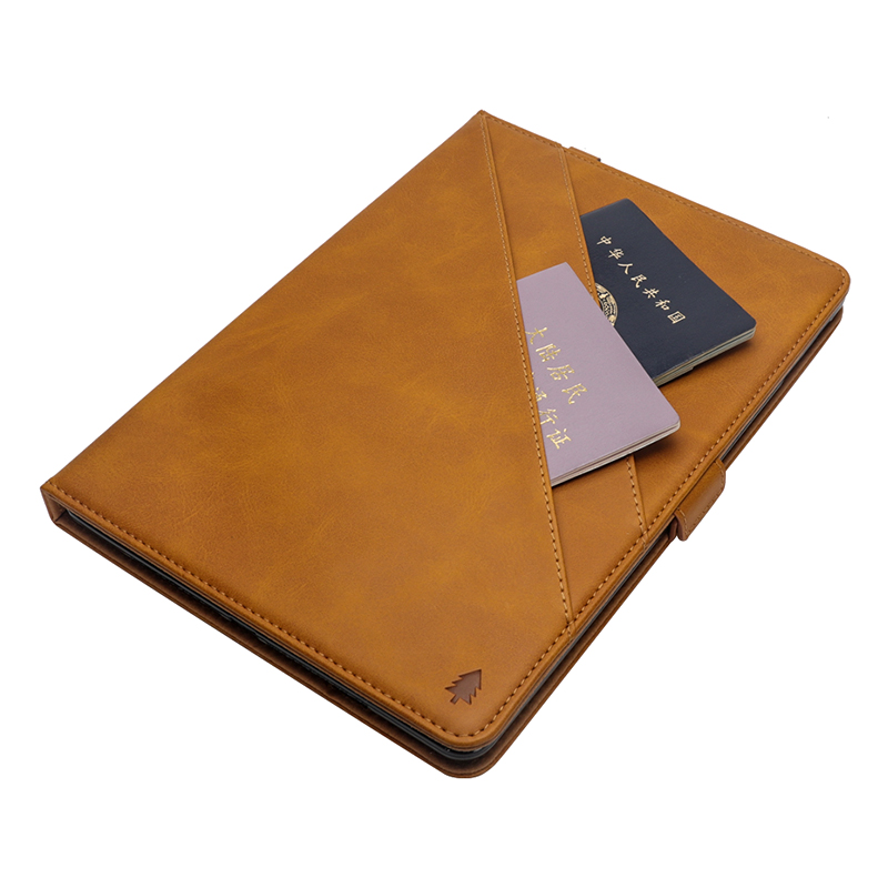 Pure Color Double Holder Leather Tablet Flip Stand Case for New iPad 2018 2017 9.7 Inch - Light Brown