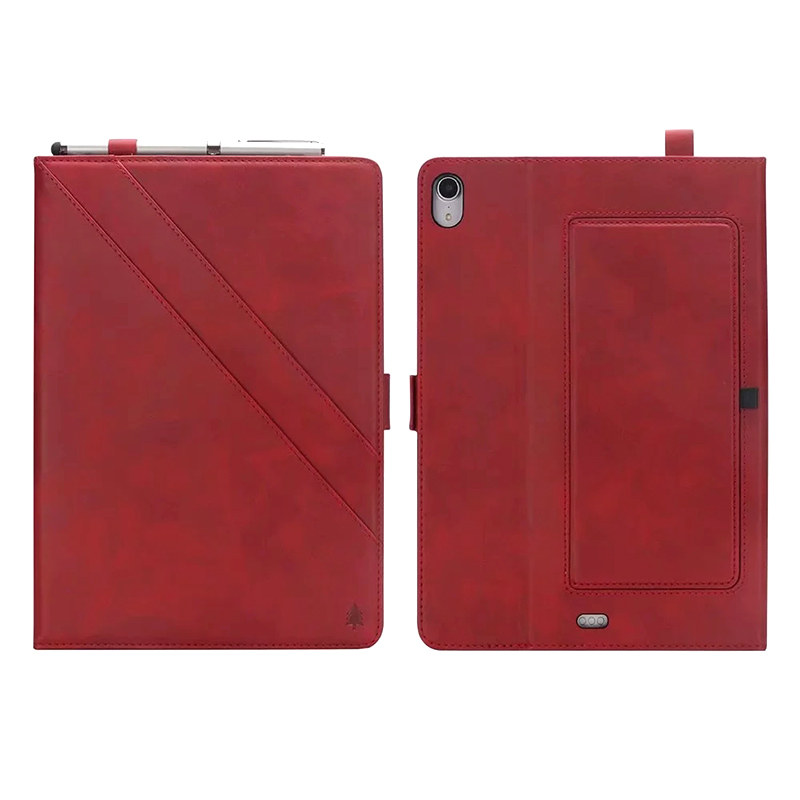Universal Horizontal Flip Double Holder PU Case with Holder Card Slot Photo Frame for New iPad Pro 11'(2018) - Red