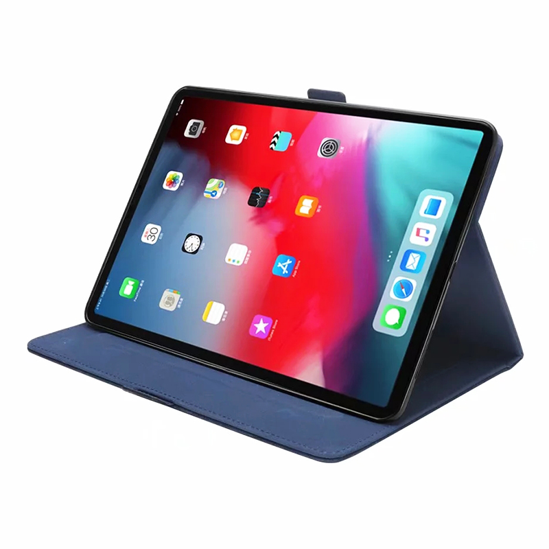 Universal Horizontal Flip Double Holder PU Case with Holder Card Slot Photo Frame for New iPad Pro 11'(2018) - Blue