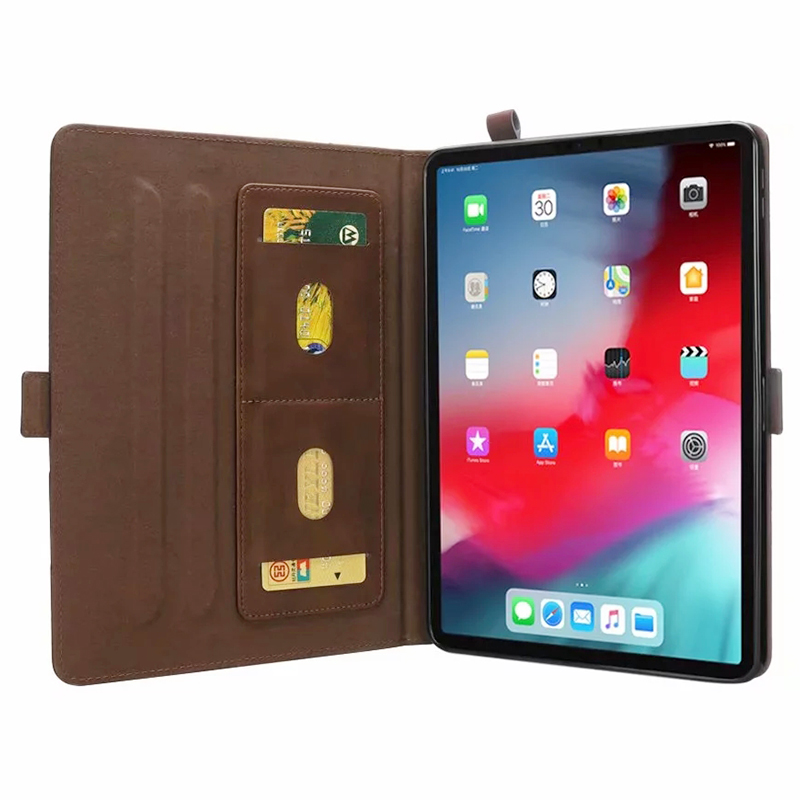 Universal Horizontal Flip Double Holder PU Case with Holder Card Slot Photo Frame for New iPad Pro 11'(2018) - Dark Brown