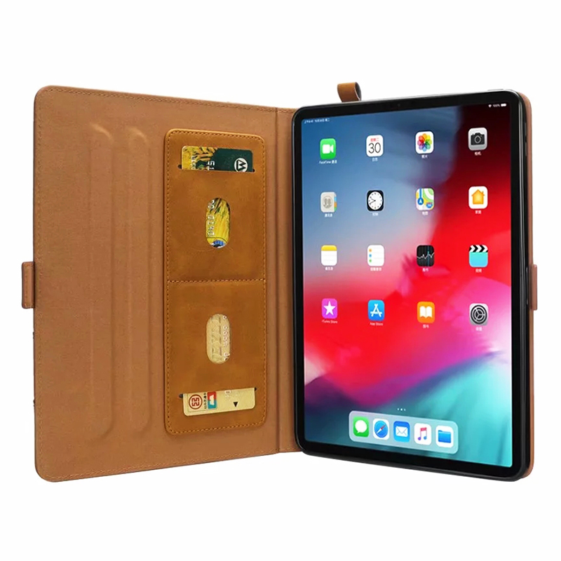 Universal Horizontal Flip Double Holder PU Case with Holder Card Slot Photo Frame for New iPad Pro 11'(2018) - Light Brown