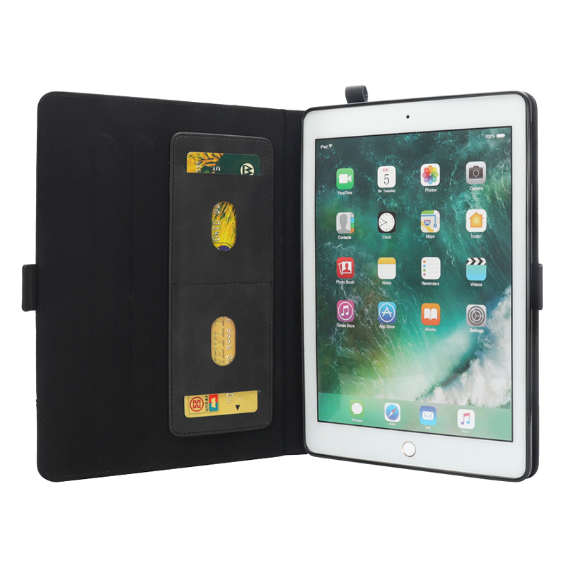 Horizontal Flip Stand Leather Case with Card Slot Photo Frame for iPad Pro 10.5'- Black